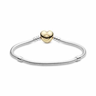 Pandora Moments Белегзија со змиска плетка и затворач во форма на срце