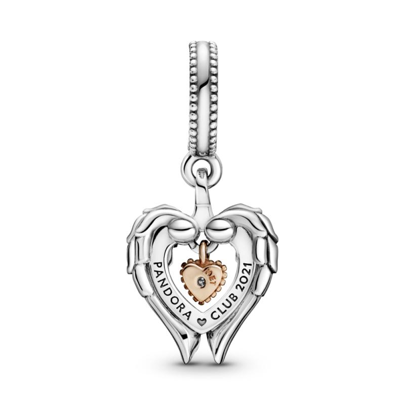 Висечки приврзок Pandora Клуб 2021 Ангелски крилја и срце