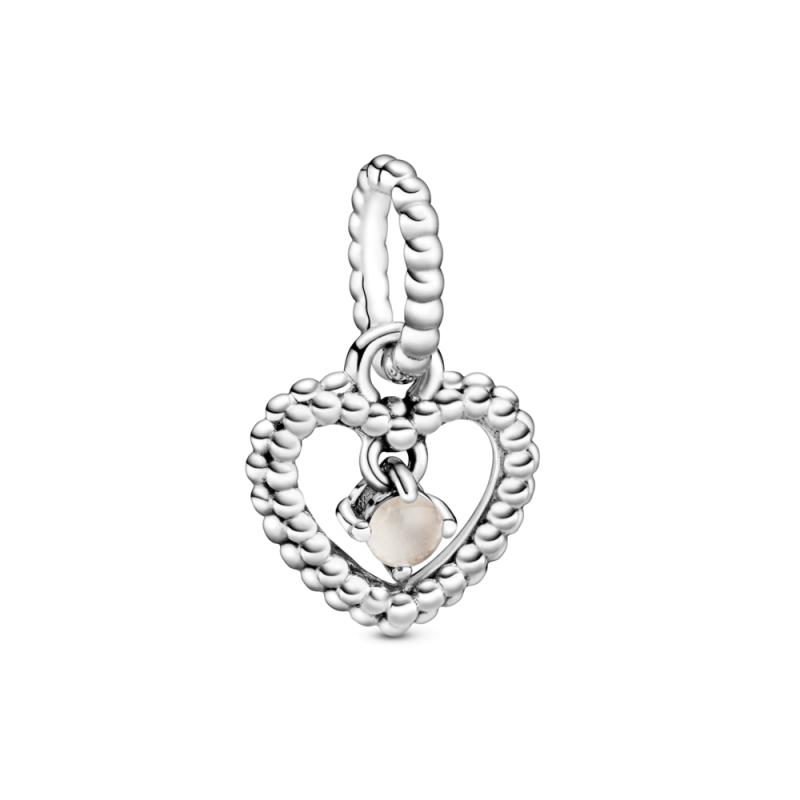 Висечки приврзок во форма на срце со перли и со пригушено розев кристал