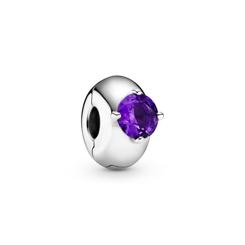 Клипс со едно виолетово камче