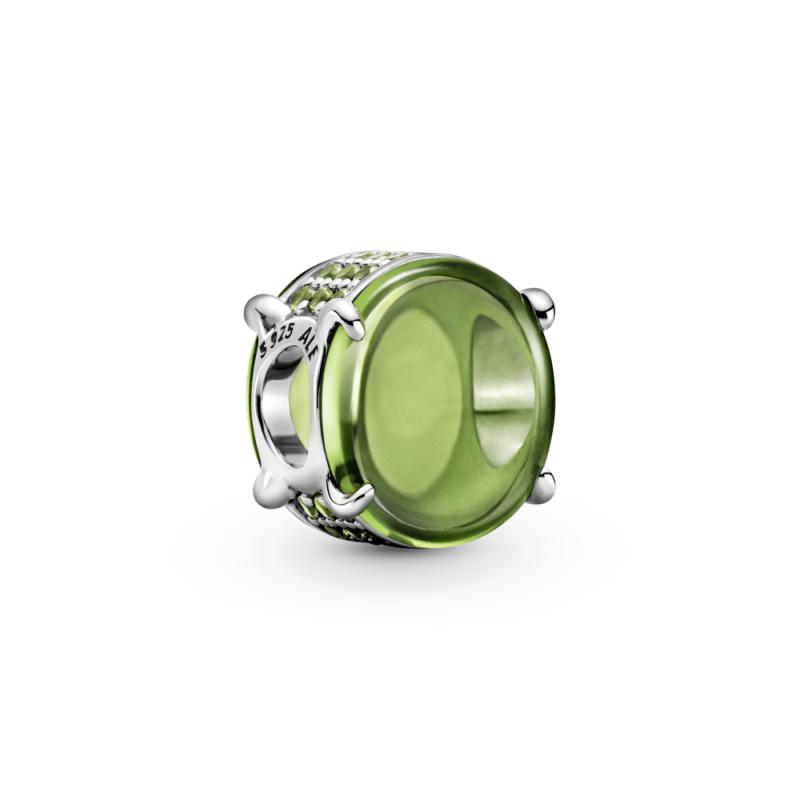 Приврзок Зелен овален кабашон